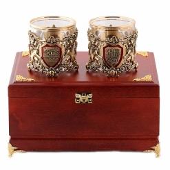 Бокалы для виски  Настоящий Мужчина + Юбилей 65 лет  в деревянной шкатулке