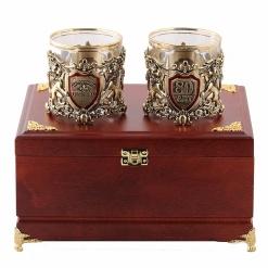 Бокалы для виски  Настоящий Мужчина + Юбилей 80 лет  в деревянной шкатулке