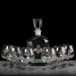 Набор бокалов для коньяка 6 штук со штофом Отечество Долг Честь в чемодане