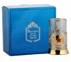 Набор для чая (3 предмета) с накладкой Звезда  с эмалью в к/к