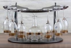 Минибар 13 предметов Графин, 6 бокалов для шампанского +6 стопок Цветоч борд. платина