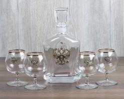 Набор штоф Капитол  Герб+ 4 бокала для коньяка Герб с золотой обводкой, латунь