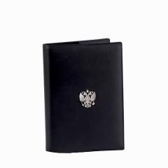 """Обложка для ежедневника недатированного, черная кожа, накладка """"Герб"""" серебро"""