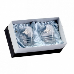 """Два бокала для виски Maria, накладка """"Отечество, долг, честь"""" серебро ч/х"""
