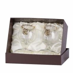Набор бокалов для коньяка 2 шт. с накладкой Кабан+Медведь  (латунь)