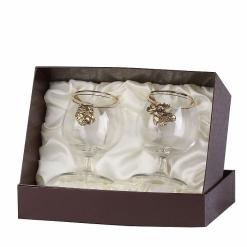 Набор бокалов для коньяка 2 шт. с накладкой Лось+Медведь  (латунь)