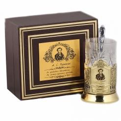 Подстаканник никель Чайная классика, Пушкин в шкатулке с накладкой (цитата)