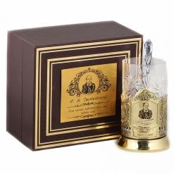 Подстаканник никель Чайная классика, Достоевский в шкатулке с накладкой (цитата)