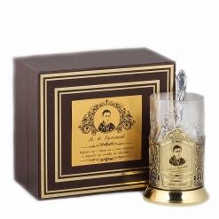 Подстаканник никель Чайная классика, Булгаков  в шкатулке с накладкой (цитата)