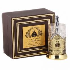 Подстаканник никель Чайная классика, Некрасов в шкатулке с накладкой (цитата)