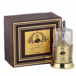 Подстаканник никель Чайная классика, Шолохов  в шкатулке с накладкой (цитата)