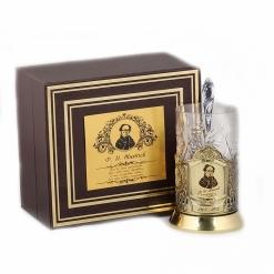Подстаканник никель Чайная классика, Тютчев  в шкатулке с накладкой (цитата)