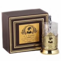 Подстаканник никель Чайная классика, Ахматова в шкатулке с накладкой (цитата)