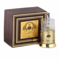 Подстаканник никель Чайная классика, Лермонтов в шкатулке с накладкой (цитата)