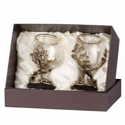 Набор бокалов для коньяка Кабан и Медведь эконом в футляре пейсли