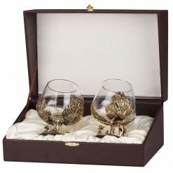 Набор из двух бокалов для коньяка Охота на Кабана (Дуб) и Лося(Береза)
