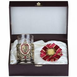 Подарочный набор: подстаканник литье С Юбилеем 50 лет и орден в  шкатулке