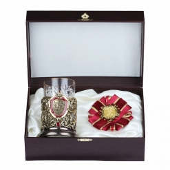 Подарочный набор: подстаканник  литьё С Юбилеем 55 лет и орден, в  шкатулке