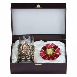 Подарочный набор: подстаканник литье С Юбилеем 60 лет и орден,в  шкатулке