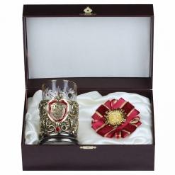 Подарочный набор: подстаканник литье С Юбилеем 65 лет и орден, в шкатулке