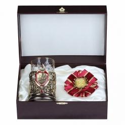 Подарочный набор: подстаканник литье С Юбилеем 70 лет и орден, в шкатулке