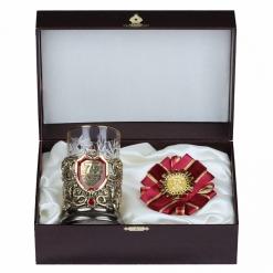Подарочный набор: подстаканник литье С Юбилеем 75 лет и орден, в шкатулке