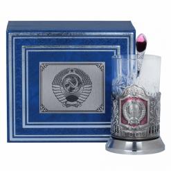 Подстаканник Герб СССР, никель, эмаль, футляр бумвинил, накладка металл УФ герб СССР