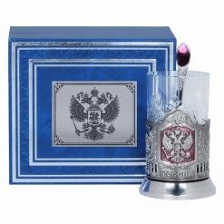 Подстаканник Герб России, никель, эмаль, футляр бумвинил, накладка металл УФ герб России