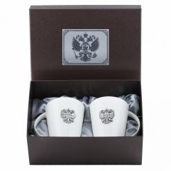 Набор из двух чашек с накладками Герб России, пейсли, накладка Герю Россси УФ металл