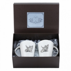 Набор из двух чашек с накладками Лебеди, пейсли, накладка Лебеди УФ металл