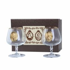 """Набор """"Царский-5"""": Два бокала для коньяка 420 мл с зол. отводкой,  декоративные накладки"""