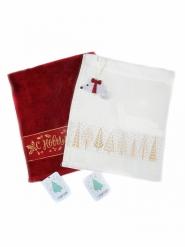 Новогодний набор полотенец в подарочном мешке Ёлочки