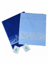 Новогодний набор полотенец в подарочном мешке Зима