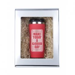 """Термокружка """"Make today..."""" красная в подарочной упаковке"""