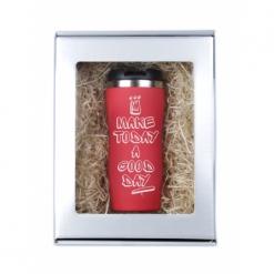 """Термокружка """"Make today...""""(граффити с короной) красная в подарочной упаковке"""