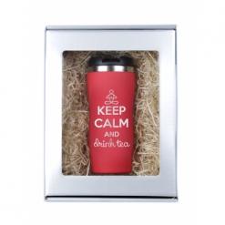 """Термокружка """"Keep calm"""" красная в подарочной упаковке"""