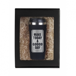 """Термокружка """"Make today..."""" черная в подарочной упаковке"""