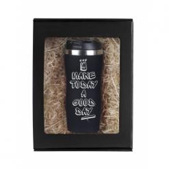 """Термокружка """"Make today...""""(граффити с короной) черная в подарочной упаковке"""