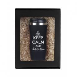 """Термокружка """"Keep calm"""" черная в подарочной упаковке"""