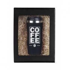 """Термокружка """"Coffee"""" черная в подарочной упаковке"""