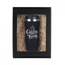 """Термокружка """"Coffee time"""" черная в подарочной упаковке"""