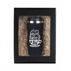 """Термокружка """"Life begins after coffee"""" черная в подарочной упаковке"""