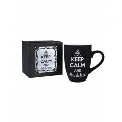 """Кружка подарочная Soft touch черная с гравировкой """"Keep calm"""" в черной картонной коробке с накладкой серебро"""