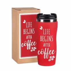 """Термокружка """"Life begins after coffee""""  красная в подарочной упаковке"""