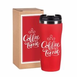 """Термокружка """"Coffe time""""  красная в подарочной упаковке"""