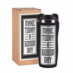 """Термокружка """"Make today""""  чёрная в подарочной упаковке"""