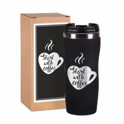 """Термокружка """"Start with coffee """" чёрная в подарочной упаковке"""