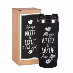 """Термокружка """"All you need is love """" чёрная в подарочной упаковке"""