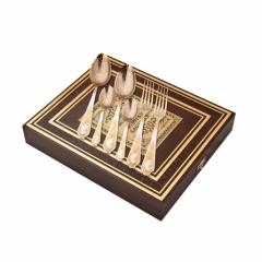 """Набор столовых приборов """"Золотые бабушка и дедушка"""" 6 предметов ( 2 столовые ложки, 2 вилки, 2 чайные ложки) в шкатулке бумвинил"""