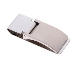 Зажим для денег метал матовое серебро прямоугольный